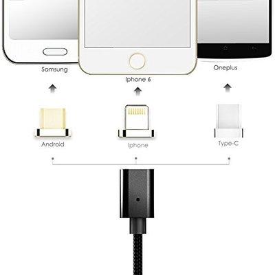 3 in 1 Magnetische laadkabel  - Micro USB - USB-C - Lightning