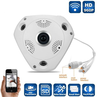 Plafond - wand wifi IP fisheye camera met nachtvisie