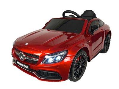 Kinder auto Mercedes C63 AMG rood, blauw of zwart